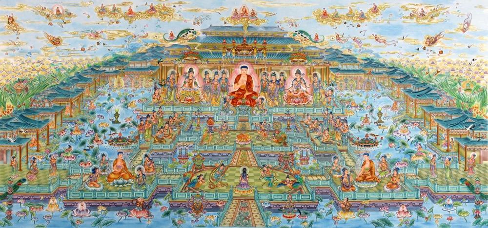 Gambaran populer tentang takhta Buddha Amitabha dan surga Sukhavati dalam versi Tionghoa.