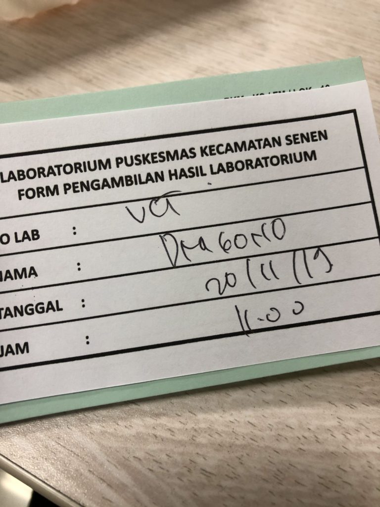 A receipt for health test result.