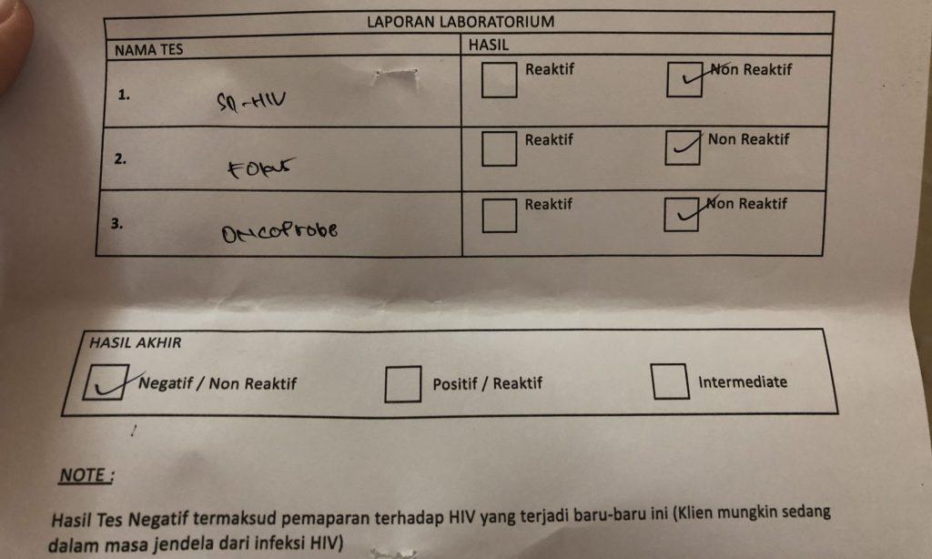 HIV test result.